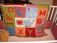 Baby Bed Comforter Set Alphabet & Animal Motif.