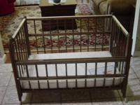 "Portable Oak Baby Crib. ""Port a Crib"". Outstanding"