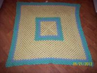 #1--Baby blanket in light yellow with a light green and
