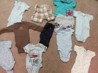 One pair of dark blue baby gap 0-3 month pants, one