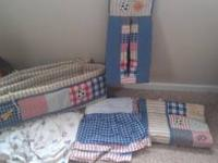 Comes with crib bumper,crib sheet, crib skirt,
