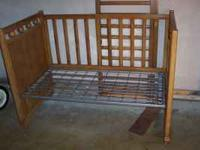 Old Baby Drop side crib that has had the rails removed