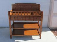 WOOD BABY CHANGING TABLE WITH DRAWER AND 2 EXTRA