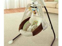 """Starlight Papasan Cradle Swing showcases 3 plush"