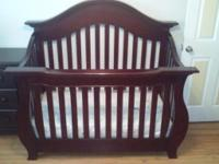 Beautifully used cherry finish Baby Cache 4 in 1 life