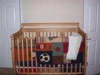 I am selling the crib, bedding set seen in the photo,