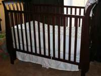 baby crib - slat wood, espresso finish, sleigh bed