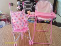 This is a baby doll stroller and highchair. Let your