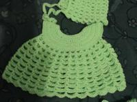 Size: newborn Color: lime green Construction: crochet