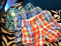 3- plaid baby gap shorts size 2   1- lime baby gap