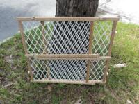 Wood and mesh Extending Safety Gate Works great Made by