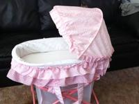 Baby girl bassinet - pink in color. 2 months old. Great