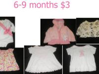 I have a lot of  baby girl clothes sizes,  6-9 months,