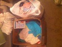 Two bags and a box full of baby girl clothes- newborn