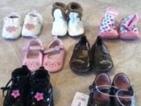 From top row White flower shoes new never worn size 3