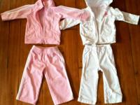One pink Adidas track suit (9m) and one white Carters
