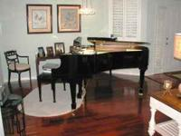5 FOOT GRAND PIANO WITH BENCH, BLACK EBONY, KOHLER AND