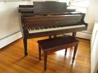 Baby Grand Piano with piano bench - a lovely walnut