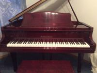 Bernhard Steiner baby grand piano with bench, gloss red