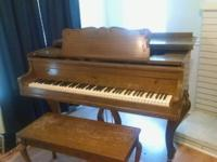 "Kramer Baby Grand Piano (4'10""). Plays well, but needs"