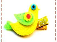 Hair clip for baby, toddler, and big girls. Felt bird