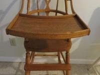 ANTIQUE HIGH CHAIR/POTTY w/OVER THE HEAD TRAY. $30.00 +