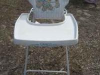 Baby High Chair - folds nearly flat - Teddy Bear