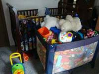 Crib/Toddler bed, playpen, pampers, clothes, high