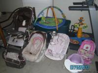 baby girl carseat with base, matching stroller, diaper