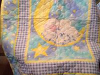 Baby quilt and pillow - design is a sleeping baby lamb