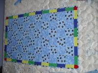 Train tie-on child quilt. One of a kind. This quilt