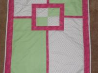 Measures 39 by 31 inches. Mint Green and Pink, white