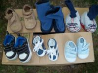 The shoes are from nb - size 3 infant and slippers are
