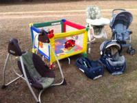 Swing $30 car seat w/ extra base $65 stroller $45 high