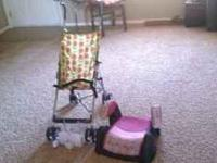Some baby stuff for sale.: Stroller, toddler seat, and
