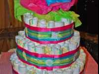 Baby Diaper Arrengement in the shape of a Cake, All new