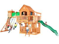 The Woodridge playset has an enormous raised covered