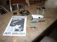 Badger 200 airbrush with two glass jars for bottom feed