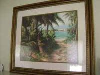 LIKE NEW BAHAMA SCEEN WITH SAILBOAT AND PALM TREES ON