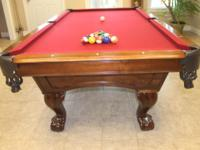 Top of the line CL Bailey Maple Pool Table with leather