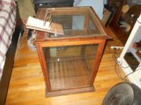 """pie display case made of Oak wood and glass 2x2x32"""""""