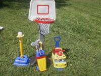 I have a ball goal, riding toy, golf set etc all in
