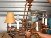 Bamboo shade chandelier- used for 2 years. Moved and