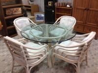 "This set includes 6 chairs & a 48"" glass dining table,"
