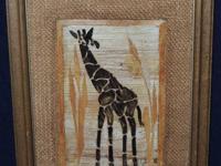 $5 ea banana leaf and hemp artwork one is a giraffe and