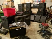 Pa, speakers, mic stands, power heads, lights and