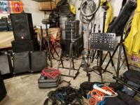 Pa speakers, mic stands, lights and stands, bass and