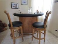 Like New black padded bar with oak wood base and
