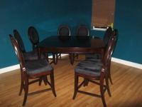 This gorgeous dining room set is bar/counter height. It