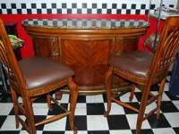 Granite top bar with 2 bar stools, awesome piece,